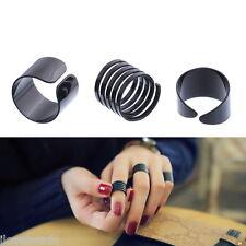 3pcs/Set Stack Knuck Finger Ring Punk Black Spiral Ring Smooth Openings
