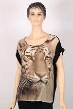 Ladies Short Sleeve Black Brown Beige Cotton On Tunic Lion Top Medium Size M