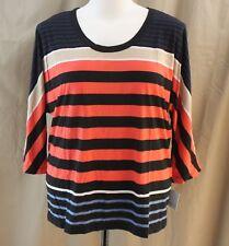 Liz Claiborne, Large, Autumn Glory Multi Stripe Knit Top, New with Tags