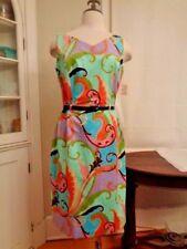 SKY vibrant teal & orange paisley sheath dress USA women's size L NWT $218