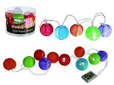 Lichterkette LED Lampions Kette 10 Laternen bunt Papier Batterie Partylicht