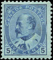 1903 Mint H Canada F+ Scott #91 5c King Edward VII Issue Stamp