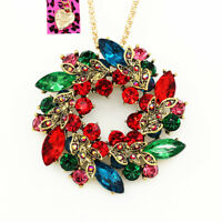 Colorful Crystal Flower Wreath Pendant Chain Betsey Johnson Necklace/Brooch Pin