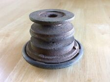 """Old Used Rusty Dual Pulley Steampunk Art 2 3/4"""" x 4 1/2"""" Awesome Component"""
