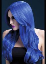 Deluxe gothique bleu ondulé khloe perruque