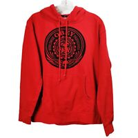 Obey Red Graphic Sweatshirt Hoodie Logo Long Sleeve Hooded Mens Sz Small S