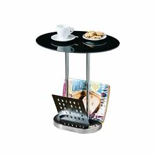 Coffee & Magazine Table with Black Glass Top and Chrome Finish Base - Brand New