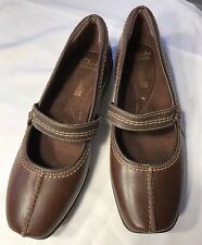 Clarks Collection Soft Cushion Brown Leather Mary Janes Shoes Womens Size 9.5N
