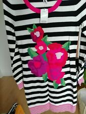 NEXT Black & White & Pink Striped & Floral Ladies Jumper dress Size 10 NEW