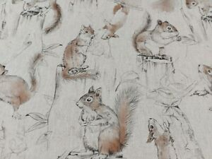 Playful Squirrels Linen Cotton Upholstery Curtain Blind Fabric