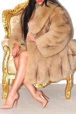 Magnifique Luxe Miel Caramel Saga Blue Fox Fourrure Véritable Manteau L Merveilleux