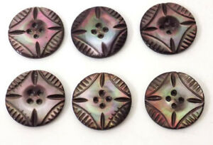 6 Carved Abalone Buttons 1 Inch Good Color