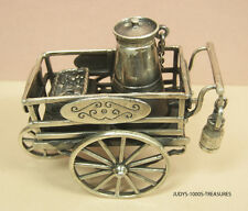 925 SILVER MINIATURE FOOD PUSH CART 2.50 x 2.50 x 1.25 INCHE 105.20gr FROM ITALY