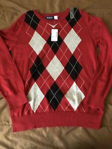 NWT Boys Red Long Sleeve Shirt Winter Size L 10/12 Light Weight