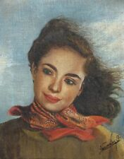 Vintage French Oil Painting, Portrait of a Woman, Signed, 1960's