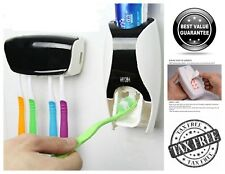 Toothpaste Dispenser Squeezer Kit /w Toothbrush Wall Organizer Self Adhesive