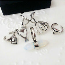 Fashion Boho Women Stack Plain Above Knuckle Ring Midi Finger Tip Rings 6pcs Set