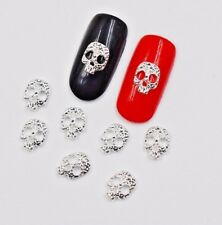 10psc Silver skull 3D Nail Art Decorations Alloy Nail Charms Rhineston UK