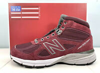 Men's New Balance 990v4 Made In USA Mid Boots Burgundy MO990BU4