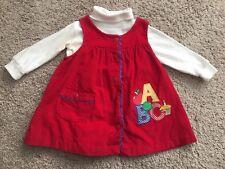 Vtg 2T Samara Corduroy Jumper Dress turtleneck red school primary colors ABC