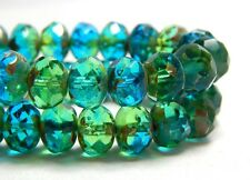 25 Green Blue Crystal Beads 10x8mm Rondelles Earthy Glass Czech Pretty T-68A