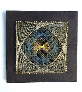 "Vtg Geometric String Art Wall Hanging Gold Blue Yellow Retro 1970s 11"" X 11"""