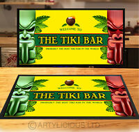 Welcome to the Tiki Bar bar runner vintage yellow style party counter mat