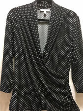 Chaus Women's Polka Dot 3/4 Sleeve Blouse Top Size Large