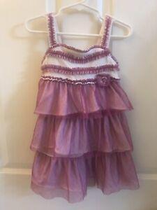 Girl's Purple & White Layered Preowned Dress Koala Kids Brand
