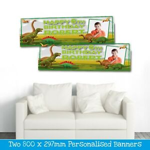 2 PERSONALISED DINOSAUR PHOTO BIRTHDAY BANNERS - ANY NAME/AGE (800X297MM)