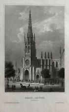 1857 Steel Engraving GRACE CHURCH, New York CITY Rare! Antique Art Print