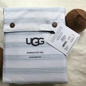 UGG Summer Cooling Superior Soft Feel Striped QUEEN Sheet Set, White/Blue