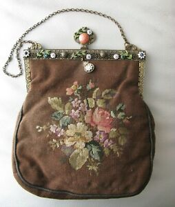 Antique Gold Jewel White Green  Enamel Frame Brown Wool Floral Petit Point Purse
