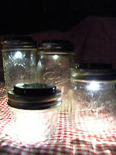 Canning Jars 3 SOLAR Powered / Mason Jar / Ball Jar / LED LID LIGHT Rustic Lamp