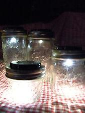 QTY 6 NEW SOLAR LED LID, FRUIT JARS, Mason Jar Crafts Art Redneck Wineglass