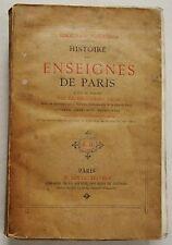 Histoire des Enseignes de Paris E FOURNIER éd Dentu