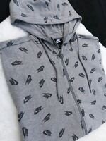XL MEN'S NIKE WOLF GRAY PRINT LOGO Hoodie Sweatshirt FULL ZIP AR5233 063