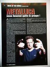 COUPURE DE PRESSE-CLIPPING :  METALLICA  03/2001 Départ de Jason Newsted