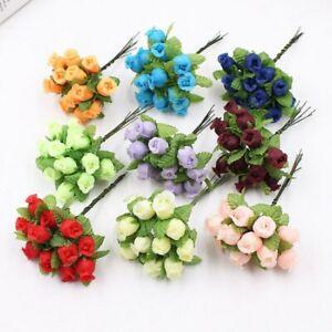 12Pcs Artificial Flower Diy Wreath Scrapbook Decor Mini Fake Rose Wedding Party
