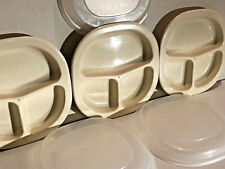 (3) VINTAGE tan RUBBERMAID Microwave Heatables Divided Plates Dishes 0059 w/Lids