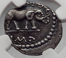 Metellus Scipio Enemy of Julius Caesar 47BC Ancient Silver Roman Coin NGC i60978