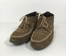 Minnetonka Moccasin Ankle Boots Brown Tan Suede Lace Up Shoes Moc 9 USA