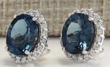 925 Sterling Silver Blue Sapphire Gemstone Oval Stud Earrings [EAR-294]