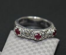 925 Sterling Silver Judith Ripka 3 Stone Red Ruby CZ Cable Ring Band Size 6