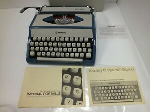 Lovely Vintage Imperial Blue & Grey Coloured Portable Manual Typewriter