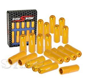 20 Piece M12X1.5Mm Thread Racing Tuner Wheel Rim Lug Nut Jdm God Snow [Gold]