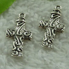 free ship 82 pcs tibet silver cross charms 28x15mm #3862