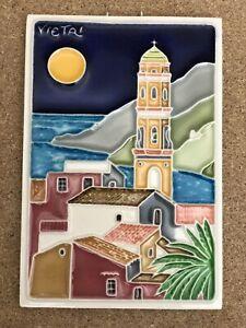 "Creazioni Luciano 4""x6"" Painted Tile VIETRI Ceramic Wall Art Plaque Italy"
