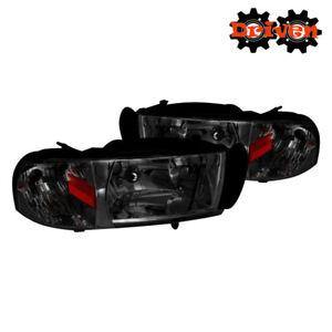 94-01 Dodge Ram 1500 2500 3500 Smoked Tinted Headlights w/Amber Reflector Sport