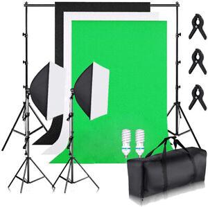 135W Fotostudio Hintergrundsystem Set Softbox Studiolampe Fotografie Dauerlicht